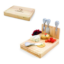 Picnic Time - Arizona Cardinals Asiago Folding Cutting Board With Tools in Natural Wood - The Asiago is a folding cutting board with tools that is another Picnic Time original design. This compact, fully-contained split-level cutting board is made of eco-friendly rubberwood. Lift up the top level of the board to reveal four brushed stainless steel cheese tools: a pointed-tipped cheese knife, cheese fork, cheese chisel knife, and blunt nosed hard cheese knife. The tools are magnetically secured to a wooden strip that lifts up so you can close the cutting board and display the tools. Designed with convenience in mind, the Asiago is great for home or anywhere the party takes you.; Decoration: Engraved; Includes: 4 brushed stainless steel cheese tools (1 pointed-tipped hard cheese knife, cheese fork, cheese chisel knife, and blunt nosed soft cheese knife