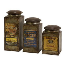 Addie Vintage Label Wood and Metal Canisters - Set of 3 - Set of three antiqued metal canisters each with a distinctive vintage label and a wooden lid.