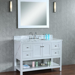 "NEW 48"" Emily Bathroom Vanity - Light Grey - Beautiful cottage style bathroom vanity by Ari Kitchen and Bath, a new brand manufacturing quality bathroom decor at affordable prices. The new 48"" Emily comes with a carrara marble top, with a rectangle CUPC basin, soft-closing drawers and doors, concealed drawer hinges, light grey framed mirror and light grey solid wood bathroom cabinet. Absolutely no MDF or Particle board on all of our bathroom vanities. All of our bathroom vanities come assembled by the manufacturer, minimal assembly required."