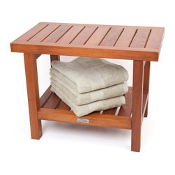 "Aqua Teak - 24"" Teak Shower Bench - From the Spa Collection - This teak shower bench will blow you away with its high quality and aesthetic appeal. Handcrafted with farm grown, sustainably harvested teak wood, this Aqua Teak shower seat is the ideal accessory for your bathroom, patio, or poolside. Convenient for use as a teak bath bench as well, this durable product comes with all stainless steel hardware and is naturally water resistant. Perfect for any area of your home or garden, we are so confident that you will love your teak shower stool that we offer a no hassle, 30 day guarantee and 5 year warranty on all of our products! (Some assembly required) Dimensions: 24""w x 18""h x 14""d"