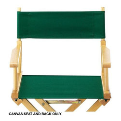 Home Decorators Collection - Canvas Seat and Back - Available in a range of bright colors to match any decor, our Canvas Seat and Back will fit our Director's Chair. Make your old director's chairs bright and beautiful again with this surprisingly inexpensive replacement canvas, or customize a brand new set of director's chairs or stools to match your existing furniture and accessories. Order one color, or at this exceptional price, order two or three, and you can change the color of your chairs to suit your mood!Fade-resistant 100% cotton canvas will help you customize your folding director's chair with ease.Replacement seat and back will be initially very tight; canvas will stretch over time.Wooden frame not included.The Director's Chair Canvas Seat and Back were featured in the March 31, 2008 issue of Woman's World magazine.