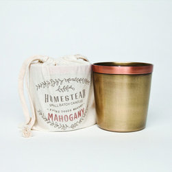 Mahogany Candle Cup in Cotton - By Laguna Furnishings - Candles & Home Fragrance in Westlake Village CA - http://www.lagunafurnishings.com/catalog/candles-and-home-fragrence
