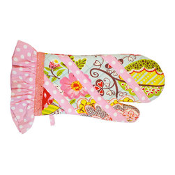 BrandWave - June, Mit - Look pretty in pink wearing our charming, floral print June oven mitt. Safely protect your hands from the heat without losing your chic style. Accessorize this pink, polka-dotted oven mitt with the matching apron.