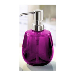 Colorful Round Liquid Soap Dispenser - 10oz, Purple - Round liquid soap dispenser made from beautiful durable acrylic.  This impact resistant contemporary round soap dispenser is unique, fun and very cool. Holds 10oz of soap or lotion. Made in Germany.