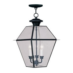 Livex Lighting - Livex Lighting 2385 Westover Outdoor Pendant with 3 Lights - Livex Lighting 2385 Westover Three Light Outdoor PendantA classic shape that has withstood the test of time, the Westover three light outdoor pendant features a design based off the popular lantern motif surrounded by large clear beveled glass panes that allow this handsome light to give out plenty of light in all directions. The Westover is the perfect addition to light up your entry, patio, or other covered outdoor area.Livex Lighting 2385 Features: