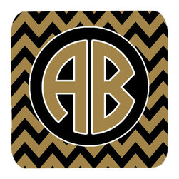 Caroline's Treasures - Chevron for Vanderbilt Personalized 2 Initial Foam Coasters, Set of 4 - Foam Coaster - 3 1/2 inches by 3 1/2 inches. Permanently dyed and fade resistant. Great to keep water from your beverage off your table and add a bit of flair to a gatering.  Match with one of the insulated coolers or huggers for a nice gift pack.  Wash the coaster in the top of your dishwasher.  Design will not come off.  Made from our mouse pad material and is heat resistant.