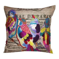Bird Pillow - Allow your design theme to soar with electrifying spirit that will ignite an array of artistic expression.  Full of life, our Bird Pillows, will sweep you off your feet with vibrant embroidered and print illustrations that pack a punch.