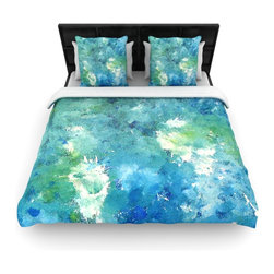 "Kess InHouse - CarolLynn Tice ""Sporatically"" Teal Green Cotton Duvet Cover (Twin, 68"" x 88"") - Rest in comfort among this artistically inclined cotton blend duvet cover. This duvet cover is as light as a feather! You will be sure to be the envy of all of your guests with this aesthetically pleasing duvet. We highly recommend washing this as many times as you like as this material will not fade or lose comfort. Cotton blended, this duvet cover is not only beautiful and artistic but can be used year round with a duvet insert! Add our cotton shams to make your bed complete and looking stylish and artistic!"