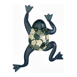 "Gardman USA - Climbing Frog Stone Wall Art - Climbing Frog with Natural Stones Wall Art - Measures: 21"" long x 15"" wide.   Position however you like crawling up  down  or sideways.   Pebble design back and glass bead eyes.   Durable welded steel construction for use indoors or out..  This item cannot be shipped to APO/FPO addresses. Please accept our apologies."