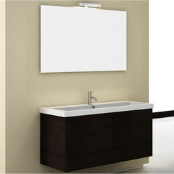 Iotti - 47 Inch Bathroom Vanity Set - Made for the master bathroom, this wide vanity set has the performance power and high style you expect from Italian design and workmanship. The available finishes include Glossy White, Wenge and Gray Oak. Earth friendly construction assures you of ultra low emissions of harmful pollutants like formaldehyde. Double, soft closing doors protect your storage and last longer in use. The fitted white ceramic sink top has very generous shelf space at the back. A full width mirror with vanity light completes the set. Set Includes: . Vanity Cabinet (2 doors). Fitted ceramic sink (47.2 inch x 2 inch x 18 inch ). Mirror (47.2 inch ). Vanity Light. Vanity Set Features:. Vanity cabinet made of engineered wood. Cabinet features waterproof panels. Available in Wenge (as shown), Gray Oak, Glossy White. Cabinet features 2 doors. Faucet not included. Perfect for modern bathrooms. Made and designed in Italy. Includes manufacturer 5 year warranty.