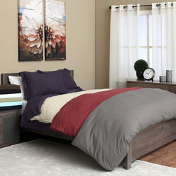 None - Microfiber 3-piece Duvet Cover Set - Enjoy a restful night's sleep with this comfortable 3-piece duvet set. These super soft brushed microfiber sheets come in a variety of colors to match your current decorating scheme and feature deep pockets to cover even the thickest mattress.