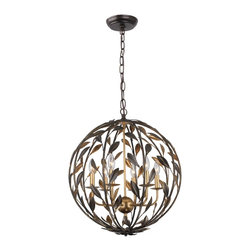 Crystorama - 6 Light Globe Chandelier - From the French brooch, the Broche collection lights up a room with tailored elegance. The simple wrought iron leaves on each light are hand painted in one of two metallic finishes - burnished antique gold or English bronze. There's also a two-tone sphere