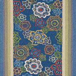 """Loloi Rugs - Loloi Rugs Zamora Collection - Blue, 2'-3"""" x 3'-9"""" - The Zamora Collection, made in China of 100% polypropylene, combines a hand-hooked field with a hand-braided border, for an overall look that exceeds expectations in an indoor/outdoor product. Cheerful and vibrantly colored, this collection breathesliveliness into an outdoor space."""