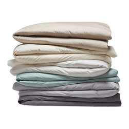 Coyuchi - Sateen Duvet Cover, Wheat, King - Sateen woven to a 300-thread count for lush drape and natural wrinkle resistance, our organic cotton sateen layers lavishly. The silky feel of the fabric is ideal for sleeping in cool weather with or without a top sheet. Closes with coconut shell buttons.