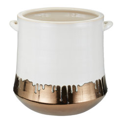 """Lazy Susan - Lazy Susan Metallic Alloy Drip Crock - The Lazy Susan crock intrigues with a brilliant mod design. Made from earthenware, a stunning white dripping effect pours over gold metallic alloy for an alluring look. 12""""D x 13'H"""