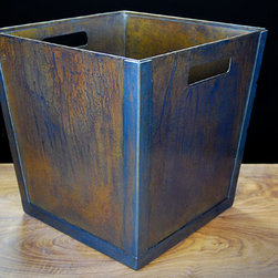 The Simple Trash Bin - The Simple Trash Bin is a less ornate version of our Riveted Trash Bin. Straight line corners and a clean surface with no rivets. Welded together with sturdy 16g cold rolled steel this can is great for anything that can fit into a 12″x12″x12″ container.  Made with recycled steel.    Available in our Standard and Custom patina finishes.