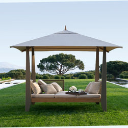 "Zayo gazebo with Balinese roof - DBGW501 	Zayo Gazebo 120"" x 86"" x 100""	 USD$8,730.00"