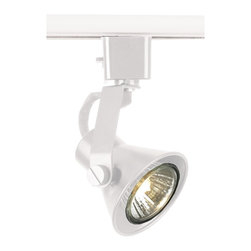 """WAC - WAC Flyback White Track Bullet for Lightolier Track Systems - This WAC flyback track lighting bullet has a clean look. This fixture has a white finish. It is ideal for retrofit and new installations. Made by WAC for use with Lightolier line voltage track systems. Takes a 50 watt GU10 bulb (not included). 3 1/8"""" wide. 2 5/8"""" long.  White finish.  Aimable track light head.  Made by WAC for use with Lightolier line voltage track systems.  Takes one 50 watt GU10 bulb (not included).   3 1/16"""" wide.   2 5/8"""" long."""