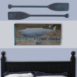 Whale (rusted steel) on turquoise frame - Framed whale