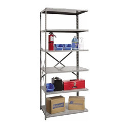 Hallowell - 87 in. High 6-Tier Extra Heavy-Duty Open Shelving - Adder (36 in. W x 18 in. D x - Depth: 36 in. W x 18 in. D x 87 in. H. Transform a cluttered basement, garage or workshop into a neat, orderly space with this durable heavy duty steel shelving unit, designed with an open construction for optional expansion. Made of cold rolled steel in gray finish, the unit has six shelves and is available in your choice of sizes. Great addition to Hi-Tech extra heavy-duty open shelving starter unit. Open style with sway braces. 6 Adjustable shelves. Fabricated from cold rolled steel. Welds are spaced 3 in. on center to provide maximum strength. Sides are triple flanged to form a channel. All 4 corners are lapped and resistance welded to provide a rigid corner and add extra strength to the shelf. Tubular front edge is designed to protect against impact loads. 36 in. W x 12 in. D x 87 in. H. 36 in. W x 18 in. D x 87 in. H. 36 in. W x 24 in. D x 87 in. H. Assembly required. 1-Year warranty