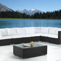 Wicker Patio Furniture - Modular outdoor lounge set in all-weather wicker, patio furniture by Velago