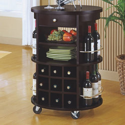 Monarch Round Bar Serving Cart - Style and convenience all in one! Roll this cart around wherever your guests go.
