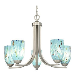 Design Classics Lighting - Chandelier with Blue Art Glass in Satin Nickel Finish - 584-09 GL1021D - Contemporary / Modern satin nickel 5-light chandelier light with turquoise blue ocean dome art glass shades. Takes (5) 100-watt incandescent A19 bulb(s). Bulb(s) sold separately. UL listed. Dry location rated.