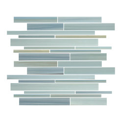 Rocky Point Tile - Reflections Linear Glass Mosaic Tiles - Welcome the cool and calming effects of a blueish-green color palette into your home with these glass tiles. A beautiful mosaic of hand-painted tiles pulls in cooler tones with just a hint of ocher and black for contrast. It's a modern and sophisticated choice for your next bathroom project.