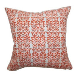 The Pillow Collection Silvia Floral Pillow - Persimmon - The Pillow Collection Silvia Floral Pillow - Persimmon with damask print is always in style. Its persimmon color is commanding against a white background. It has a cotton cover with plush feather and down insert. Dry cleaning is easy, just remove the throw pillow cover.About The Pillow CollectionIdentical twin brothers Adam and Kyle started The Collection with a simple objective. They wanted to create an extensive selection of beautiful and affordable throw pillows. Their father is a renowned interior designer and they developed a deep appreciation of style from him. They hand select all fabrics to find the perfect cottons, linens, damasks, and silks in a variety of colors, patterns, and designs. Standard features include hidden full-length zippers and luxurious high polyester fiber or down blended inserts. At The Pillow Collection, they know that a throw pillow makes a room.