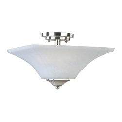 Maxim Lighting - Maxim Aurora 2-Light Semi-Flush Mount Satin Nickel - 20091FTSN - Straight lines and curves make this contemporary series a classic. Square metal tubing finished in your choice of Oil Rubbed Bronze or Satin Nickel support tapered square Frosted glass shades.