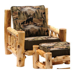Fireside Lodge Furniture - Cedar Log Lounge Chair w Cushions (Yosemite N - Fabric: Yosemite NaturalCedar Collection. Includes seat cushions. Ottoman not included. Cushion is a high-density foam with Dacron wra for lasting comfort. Back cushion is an over-stuffed poly foam pillow. Full log back. Northern White Cedar logs are hand peeled to accentuate their natural character and beauty. Individually hand crafted. Clear coat catalyzed lacquer finish for extra durability. 2-Year limited warranty. 36 in. W x 40 in. D x 36 in. H (95 lbs.)