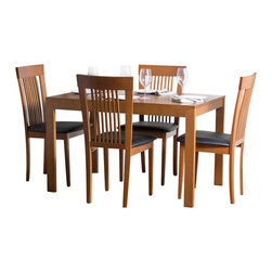 "Aeon Furniture - Westport Dining Table Set with Hartford Dining Chairs in Cherry - Set includes table and 4 chairs. Westport Dining Table:. Study Solid Beech Wood Frame. Beech Veneer Over MDF Table Top. Extendable via Sliding Mechanism and Hidden Leaf. CARB Rated. Warm Cherry Finish. Assembly Required. Open: 64 in. L x 31.5 in. W x 29.25 in. H. 46.5 in. L x 31.5 in. W x 29.25 in. H (66 lbs.). Hartford Dining Chairs:. Durable Quality Construction. Comfortable Slatted Back. Warm Cherry Finish. Black Leatherette Fire Resistant Padded Foam Seat. CARB Rated. Assembly Required. Seat Height: 18 in.. 21 in. L x 18 in. W x 37 in. H (14 lbs.)With its great look and contemporary design, this extendable dining table meets your dining and entertainment needs while enhancing the look of your home.  The table is constructed of a solid beech wood frame, stained in a warm cherry finish.   The self-contained 17.5"" extension leaf easily transforms this table from an intimate piece to the social center of your home. Brilliantly crafted simplistic styling and durable quality construction make this dining chair a perfect addition to any home.  Our chairs are made of solid beech wood, featuring a comfortable slatted back."