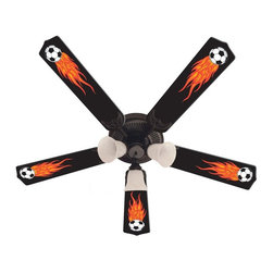Ceiling Fan Designers - Ceiling Fan Designers Flaming Soccer Balls Indoor Ceiling Fan - 42FAN-KIDS-FSB - Shop for Ceiling Fans and Components from Hayneedle.com! The Ceiling Fan Designers Flaming Soccer Balls Indoor Ceiling Fan is perfect for any game room man cave or soccer player's bedroom. Black blades with flame-engulfed soccer balls gives it style. This ceiling fan and light kit combo comes in your choice of size: 42-inch with 4 blades or 52-inch with 5. The blades are reversible so you get the color-rich soccer ball design on one side and white on the other. It has a powerful yet quiet 120-volt 3-speed motor with easy switch for year-round comfort. The 42-inch fan includes a schoolhouse-style white glass shade and requires one 60-watt candelabra bulb (not included). The 52-inch fan has three alabaster glass shades and requires three 60-watt candelabra bulbs (included). Your ceiling fan includes a 15- to 30-year manufacturer's warranty (based on size).