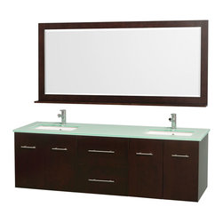 Wyndham - Centra Vanity Double 72in. in Espresso w/ Green Glass Top & Square sinks - Simplicity and elegance combine in the perfect lines of the Centra vanity by the Wyndham Collection. If cutting-edge contemporary design is your style then the Centra vanity is for you - modern, chic and built to last a lifetime. Available with green glass, white carrera marble or pure white man-made stone counters, and featuring soft close door hinges and drawer glides, you'll never hear a noisy door again! The Centra comes with porcelain, marble or granite sinks and matching mirrors. Meticulously finished with brushed chrome hardware, the attention to detail on this beautiful vanity is second to none.
