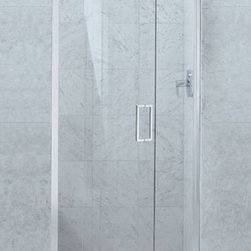 Kohler Purist Pivot Shower Door - Great looks with the beefy hardware and a great price to boot.