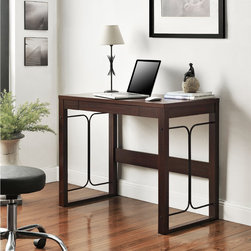 Altra - Parsons Desk/ Metal Accents - Cure the office blahs with a dose of modern style, clean lines, symmetrical metal accents and a rich, cherry finish. With a storage drawer to help keep it looking neat and organized. Side effects may include increased cheerfulness and productivity.