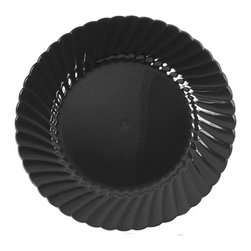 WNA INC. - PLATE 6IN BLK PLS DESIERWARE (10/18) - Traditional etched design. Economical sturdy plastic. 10 pieces per pack. 18 packs per case (180 pieces), unless otherwise noted.. . . . Plates. Black 6-in.. . . Designerware™ Dinnerware. Dimensions: Height: 1, Length: 0.32, Width: 1. Country of Origin: US   CAT: Foodservice Dinnerware Plastic Plates