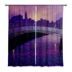 "DiaNoche Designs - Window Curtains Lined by John Nolan Purple Mist Ha Penny Bridge - DiaNoche Designs works with artists from around the world to print their stunning works to many unique home decor items.  Purchasing window curtains just got easier and better! Create a designer look to any of your living spaces with our decorative and unique ""Lined Window Curtains."" Perfect for the living room, dining room or bedroom, these artistic curtains are an easy and inexpensive way to add color and style when decorating your home.  This is a woven poly material that filters outside light and creates a privacy barrier.  Each package includes two easy-to-hang, 3 inch diameter pole-pocket curtain panels.  The width listed is the total measurement of the two panels.  Curtain rod sold separately. Easy care, machine wash cold, tumble dry low, iron low if needed.  Printed in the USA."