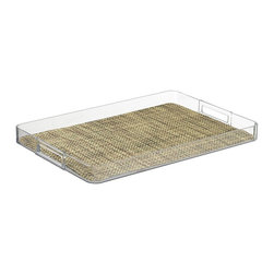 Kraftware - Handled Lucite Tray in Desert - Woven vinyl tray liner. Removable liner for easy cleaning. Stain resistant and easy to clean. Cut out handles for easy carry. Extra large size. Stain resistant fabric. Clean with a damp cloth or mild soap and water. Made from highest quality lucite. 19 in. L x 14 in. W x 4 in. H (2 lbs.)Kraftware's Woven Collection brings beauty and durability to the Table and Bar.