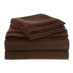 """1500 Thread Count King Sheet Set Egyptian Cotton Solid - Mocha - Bedding does not get better than this! Prized for its softness, luster and long wear, this bedding is crafted from 100% Egyptian cotton woven with an unrivaled 1500 Thread Count for the ultimate in luxury. These 1500 thread count sheets of premium long-staple cotton are """"sateen"""" because they are woven to display a lustrous sheen that resembles satin."""