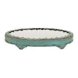 iMax - Grant Metal Tray - Lacey and lovely, a vintage-inspired metal tray with a mirrored top in a pale shade of patina green serves up style in the boudoir and beyond.