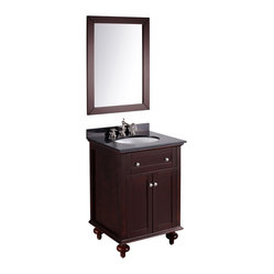 Bosconi - 25'' Bosconi SB-259 Vanity Set - Sometimes size does matter. You'll find that this striking vanity and mirror set makes a major design statement for smaller bathrooms, with a dark espresso cabinet and black granite top.