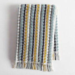 """Coyuchi - Coyuchi Multi Stripe Guest Towel - Hand-loomed for plush, unique style, this Coyuchi guest towel exudes a relaxed, natural aesthetic. Sophisticated stripes create a vivid statement, while fringed trim offers modern texture. 20""""W x 30""""H; Pewter gray, white, sunflower yellow, mid ocean blue, ocean blue; 100% organic cotton; Due to handmade quality, slight variations in fabric may occur; Machine washable"""