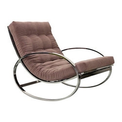 Selig - Pre-owned Mid-Century Italian Chrome Rocking Chair - Mauve - This classic Mid-Century chrome Italian rocking chair by Renato Zevi and imported by Selig is sure to rock your world. The chair features circular arms, a subtly curved back, and has been professionally reupholstered in a pale mauve velvet fabric. This is the perfect lounge chair for a living room or the coolest nursery in the entire world.     The chrome frame is in excellent condition overall with one area of damage on the front right corner of the seat frame there is a small section of chrome plating that is missing.  This chair is also missing one of the support springs which doesn't affect the chair at all as it falls right in front of one of the chrome frame braces.     *Two other single chairs without ottomans also available in other listings.  See the last image below.
