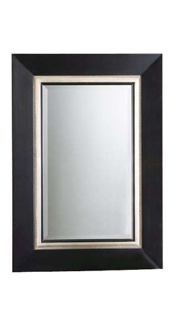 Uttermost Whitmore Black Vanity Mirror - Matte black with a silver leaf inner liner and a gray glaze. This wood frame has a matte black finish with a silver leaf inner liner and a gray glaze. Mirror is beveled.