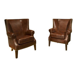 Elements Home Furnishing - Camden Top Grain Leather Accent Chairs in Rai - Set Includes: 2-Standard Chairs. Shown in Raisin. Top Grain Leather. Traditional roll arm. Antiqued brass nailhead accents along sides and base. Tight back cushion. Hardwood frame encased in  high density foam. Dark brown wood feet. Chair Dimensions: 38 in. D x 35 in. W x 44.5 in. H (52.8 lbs. each)The classic wingback design of the Camden Chair  gives its guests that stoic and regal feeling, inviting you to sit back and enjoy a glass of wine or relax with a book.  Refined symmetry and smooth lines with tightly tailored cushions let you appreciate old world charm with new world comfort.  This chair is upholstered with top grain leather shown in Raisin and stunning nailheads to highlight the base and sides. This set will stay in the family for generations to come.