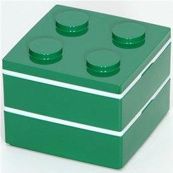 funny green Lego brick Bento Box from Japan - Lego Brick Lacquer Bento Box