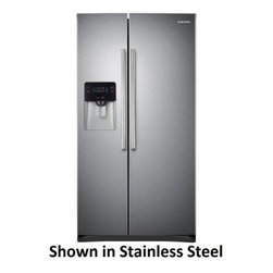 "Samsung - RS25H5000SP 36"" Side-by-Side Refrigerator with 25 cu. ft.  4 Tempered Glass Shel - This Samsung side-by-side refrigerator has a large 25 cu ft capacity and offers a nice sleek design There is a compact icemaker located on the door which takes up little space in the freezer Enjoy the convenience of having filtered water come straigh..."