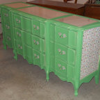 Painted Furniture - Antibes green (annie sloan chalk paint), dresser had marble inlay top.  Laminated vinyl shelf paper added to the side panels.