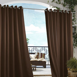 Commonwealth Home Fashions - Outdoor Decor Chocolate 50 x 84-Inch Gazebo Solid Grommet Top Single Panel - - An indoor and outdoor window treatment  - Eight Silver stainless steel grommets  - 1-inch side hems and 3-inch bottom hem  - Pocket Construction: Grommet top  - Additional Necessary Hardware: Outdoor Rod  - Laundry Instruction: Washable Commonwealth Home Fashions - 70315109050084503